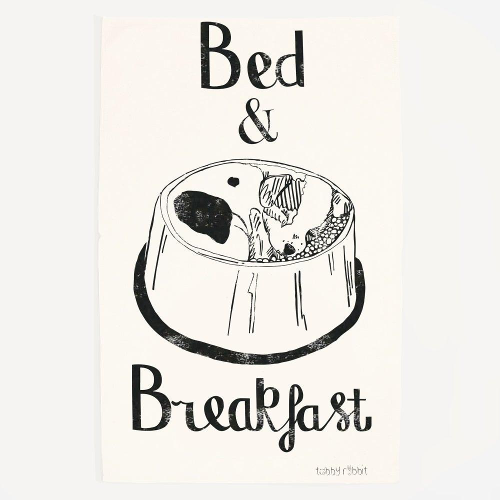 Tabby Rabbit Bed and Breakfast Tea Towel