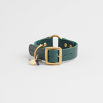Kintails Green Leather Dog Collar