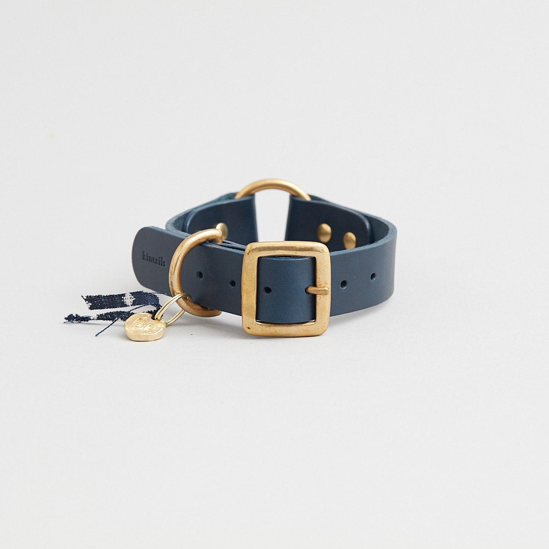 Kintails Navy Leather Dog Collar