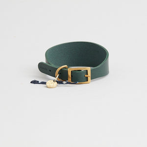 Kintails Green Leather Hound Collar