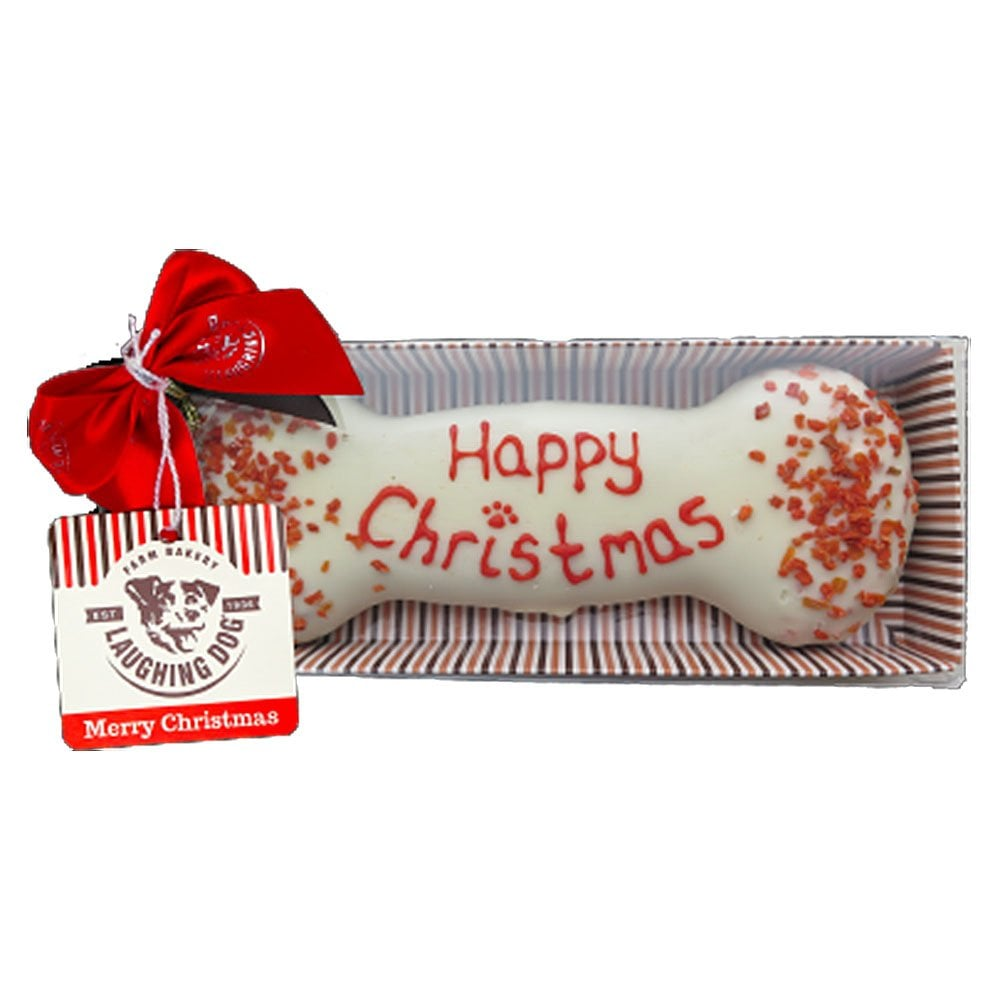 Laughing Dog Hand Decorated Christmas Bone