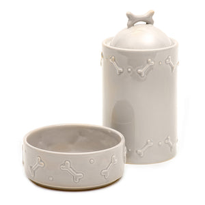 Mutts and Hounds Treat Jar in French Grey