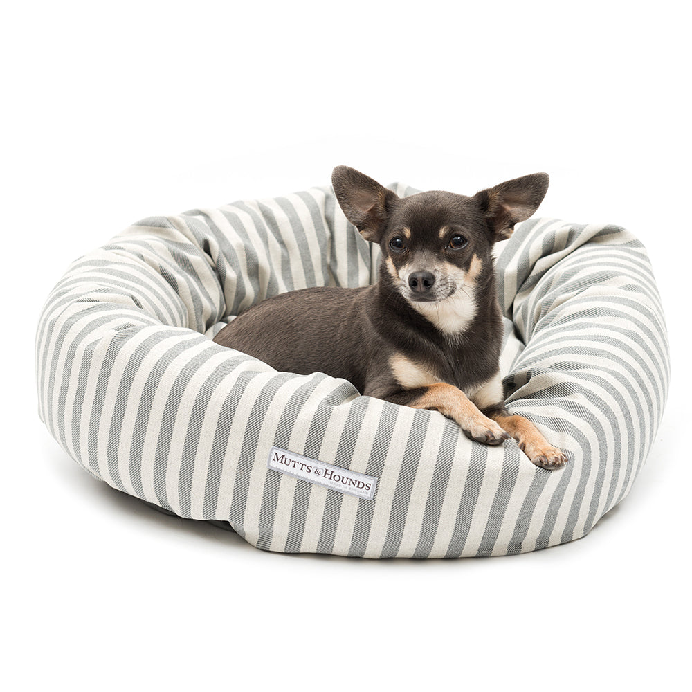 Mutts and Hounds Flint Stripe Donut Bed