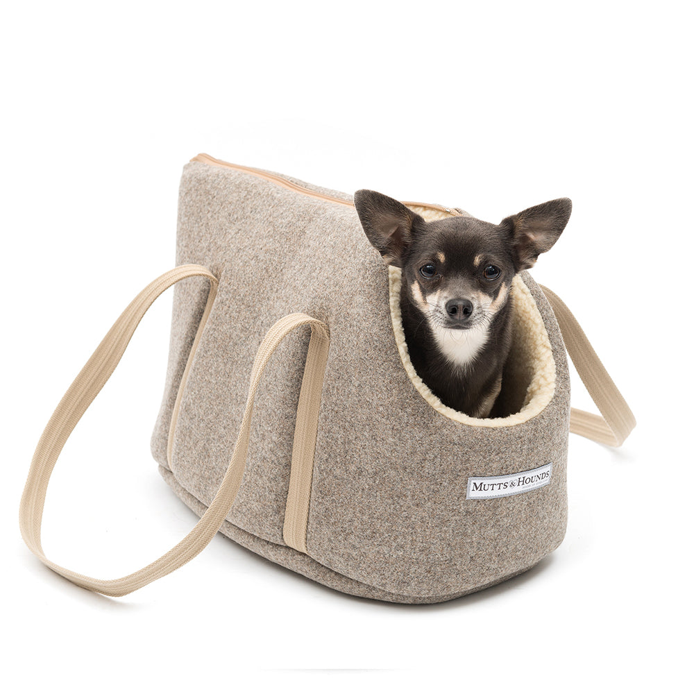 Mutts and Hounds Grey Tweed Dog Carrier