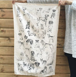 Tabby Rabbit All the Dogs Tea Towel