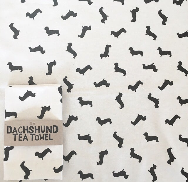 Tabby Rabbit Dachshund Tea Towel