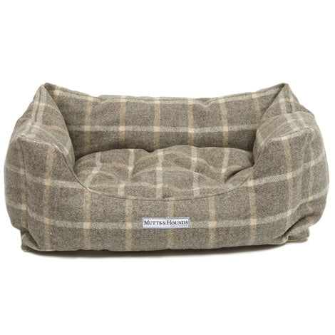 Mutts and Hounds Slate Tweed Boxy Dog Bed