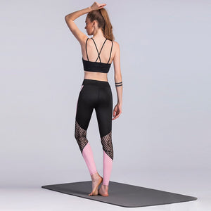 Duttedutta Mesh Patchwork Yoga Leggings For Women
