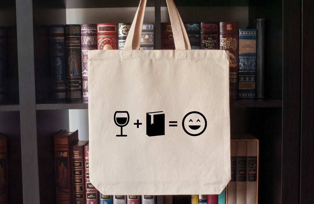 Canvas Tote Bag: Wine + Books = Happy