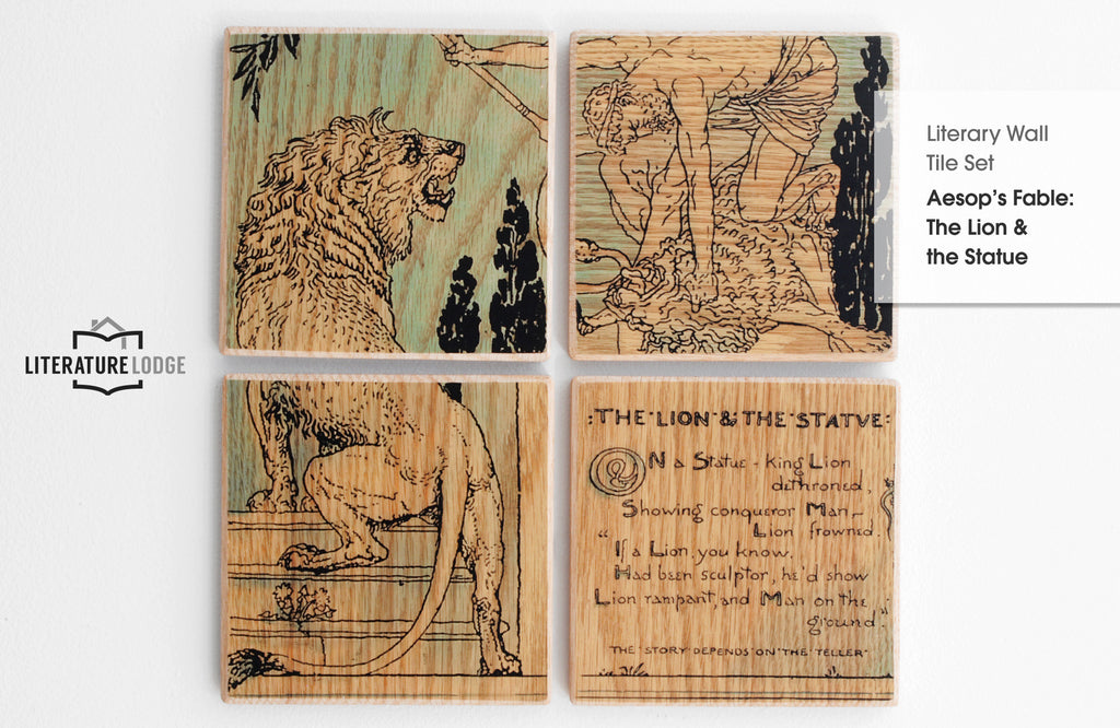 Literary Wall Tile Set: The Lion and the Statue (Aesop)