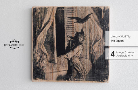 Literary Wall Tile: The Raven by Edgar Allan Poe (Multiple Designs Available)
