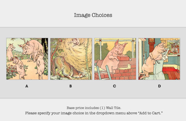 Literary Wall Tile: The Three Little Pigs (Multiple Designs Available)