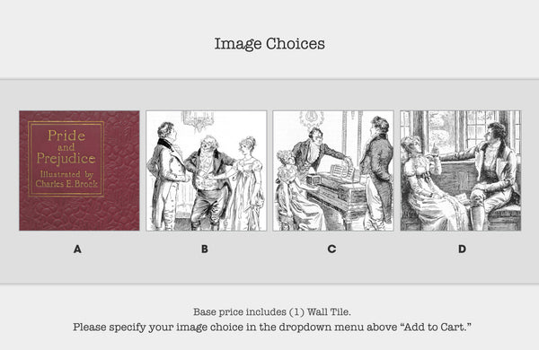 Literary Wall Tile: Pride and Prejudice by Jane Austen (Multiple Designs Available)