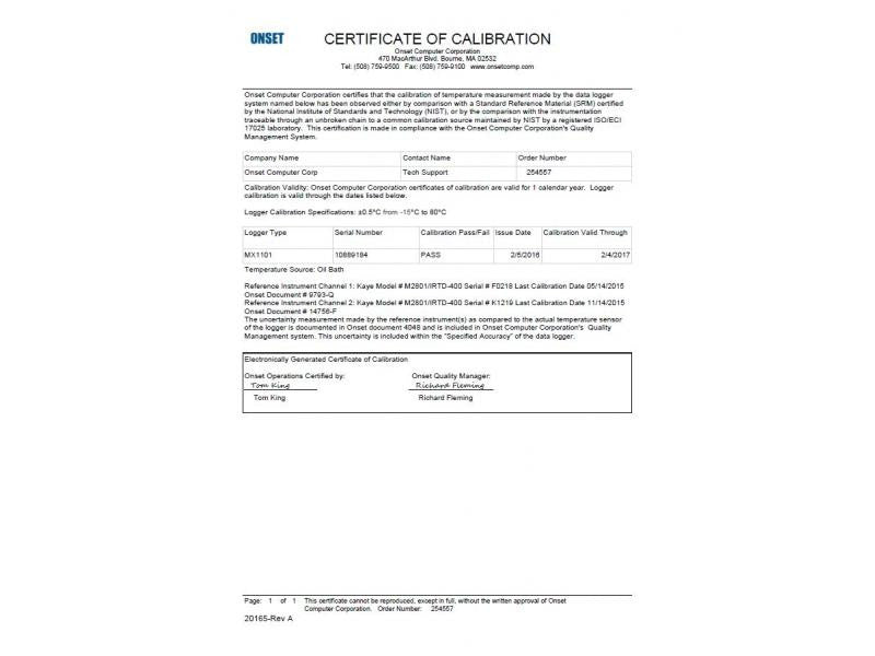 Setup Charge For Nist Traceable Certification Hoskin Scientific