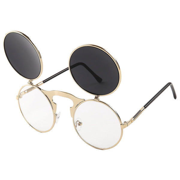 Vintage Round Flip Up Sunglasses