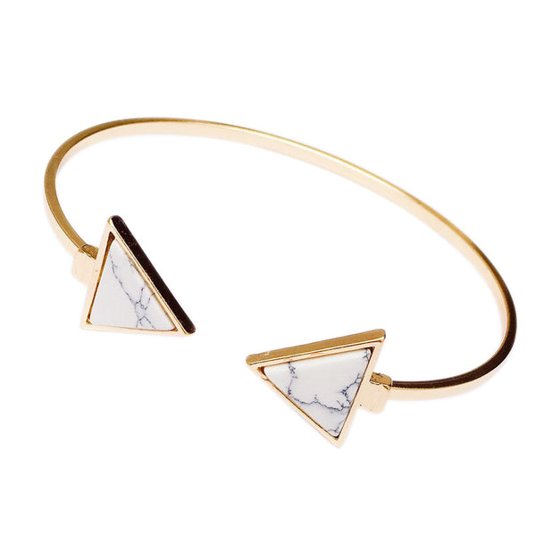Marble Triangle Bangle Bracelet