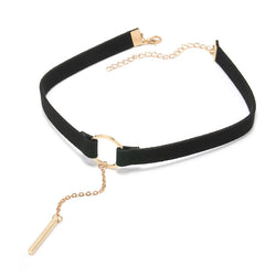 Black and Gold Leather Choker Necklace