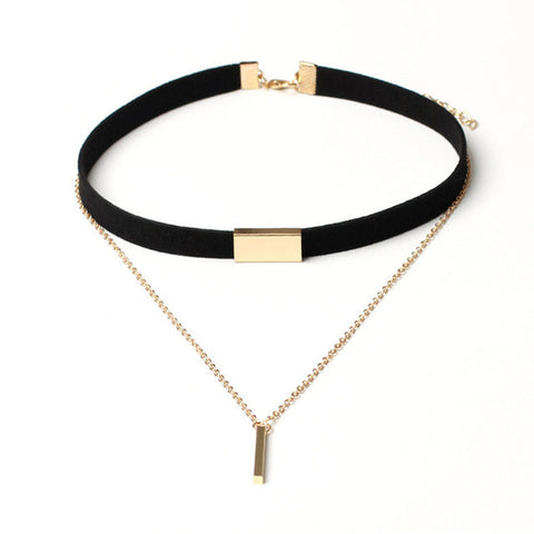 Black and Gold Velvet Choker Necklace