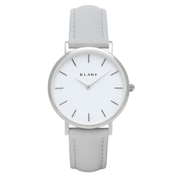 Petit Leather Strap Watch Silver