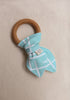 Organic Teething Ring in Teal Stripes