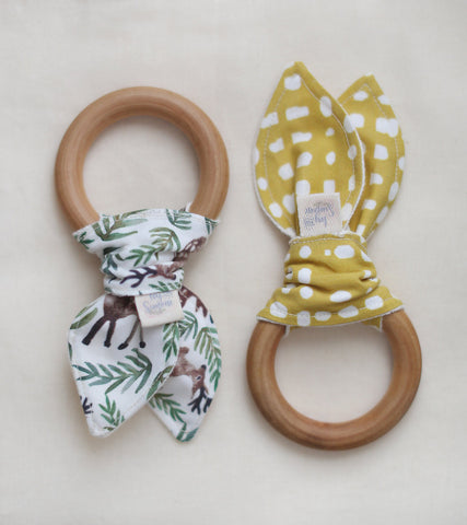 Organic Teething Ring in Forest Fawn