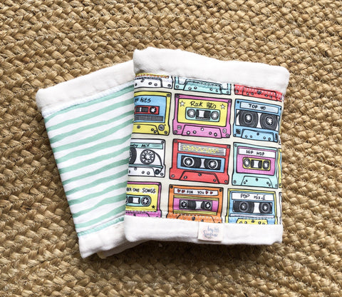 Burp Cloths in Mixed Tape