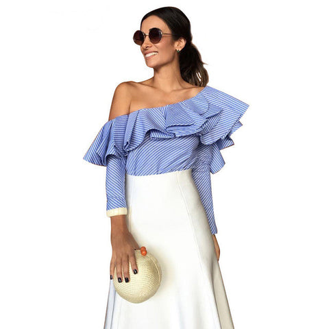 New One Shoulder Ruffles Striped Long Sleeve Shirt, Blouses, Stylenol- Stylenol