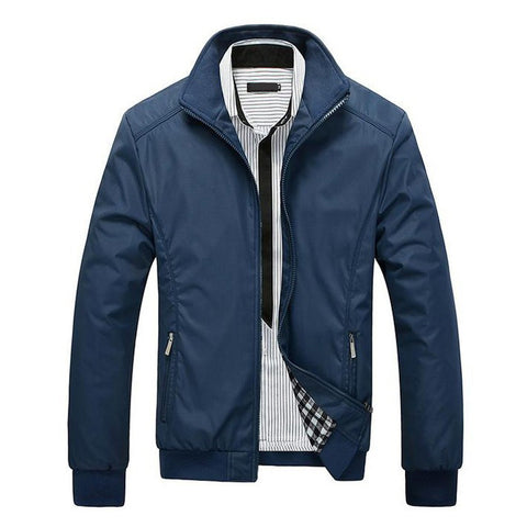 New Solid Casual Slim Stand Collar Thin Jacket, Men Jackets - Stylenol
