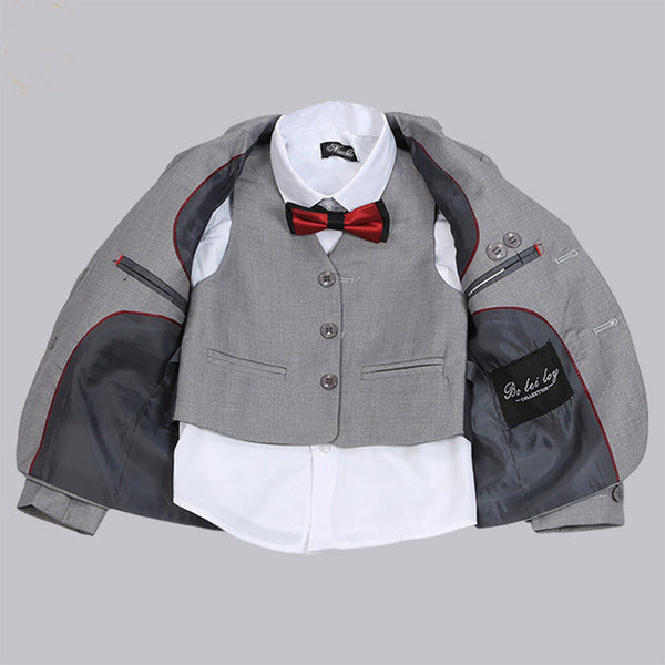 3 Pcs New Formal Solid Gray Boy Suits Set, Boys Suits, Stylenol- Stylenol