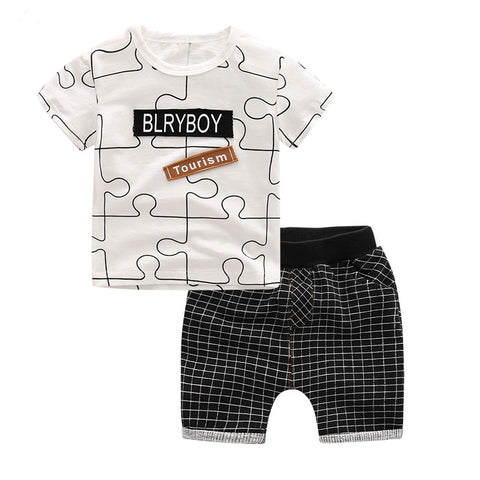 2 Pcs Letter Print Short Sleeve T-Shirt Short Boys Cloth Set, Sets, Stylenol- Stylenol