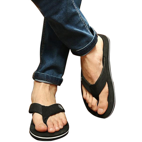 Men Cool Flip Flops Loose Soft Leather Fit Slippers, Men Shoes, Stylenol- Stylenol