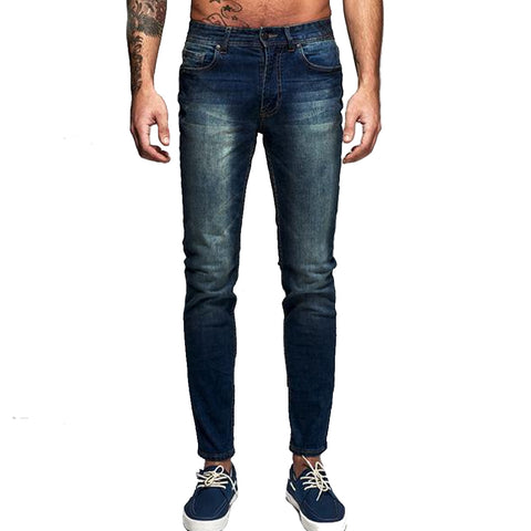 Denim New Italy Classic Blue Denim Slim Cotton Pencil Pants, Men Pants, Stylenol- Stylenol