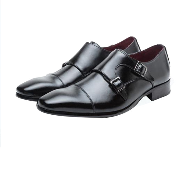 Men Luxury Genuine Leather Double Monk Formal Dress Shoes, Men Shoes, Stylenol- Stylenol