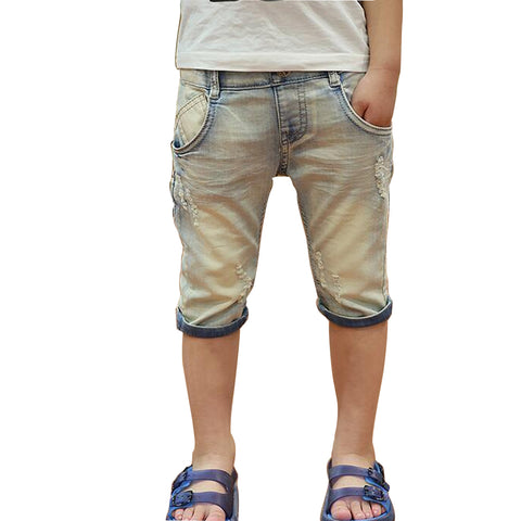 Premium New Boys Casual Cotton Elastic Waist Denim Short Pants, Boys Shorts - Stylenol