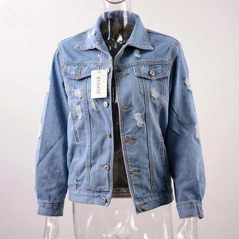 New Long Sleeve Vintage Denim Loose Jacket, Jackets, Stylenol- Stylenol