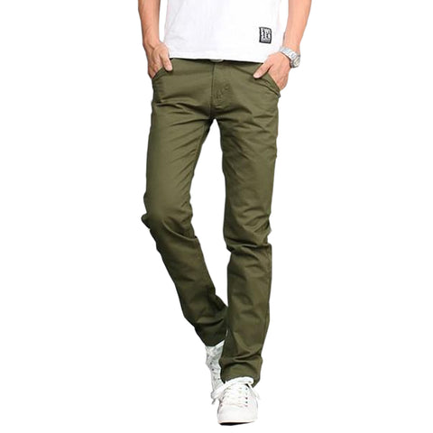 New Casual Slim Pant Straight Zipper Solid Cotton Men Pants, Men Pants, Stylenol- Stylenol