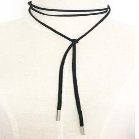 New Black Leather Bow Choker Necklace, Necklaces, Stylenol- Stylenol