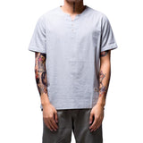 New V-Neck Short Sleeve Loose Lenin Thin Men Casual Shirt