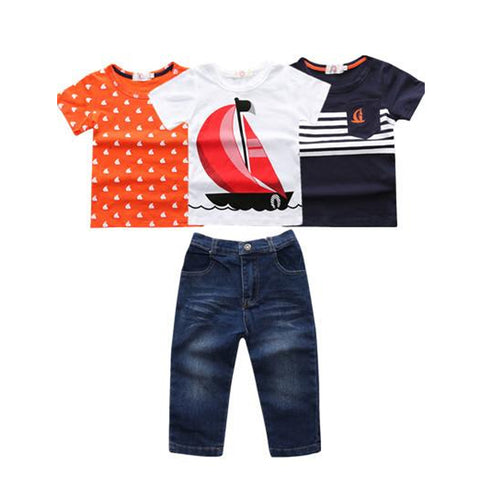 4 Pcs Fashion Short Sleeve Tees T-Shirt Jeans Boys Cloth Set, Sets, Stylenol- Stylenol