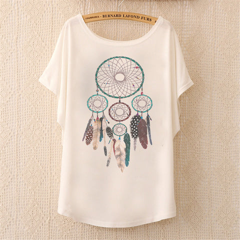 Cute Dream Catcher Batwing Sleeve Print Women Top Cotton T-Shirt, Women T-Shirts, Stylenol- Stylenol