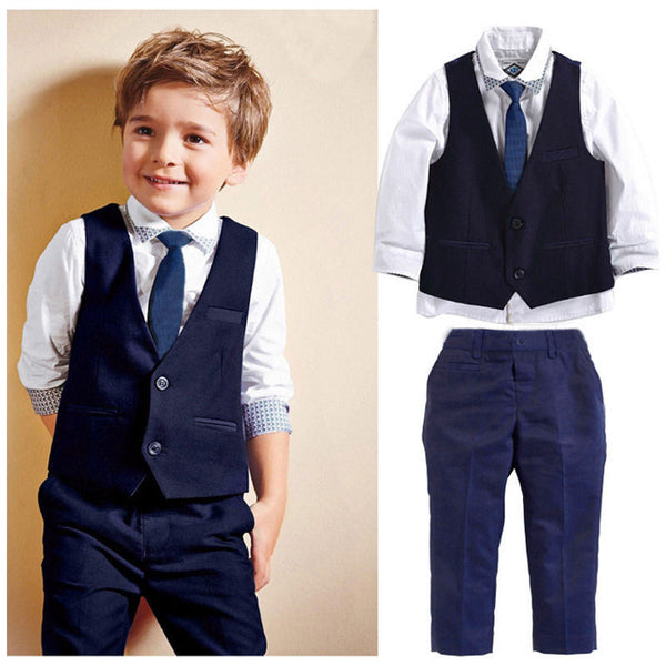 4 Pcs/set New Boys Vest Solid Formal Suits, Boys Suits, Stylenol- Stylenol