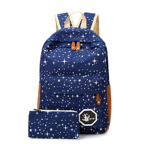 Girl Cute Canvas Stars School Backpack, Backpack, Stylenol- Stylenol