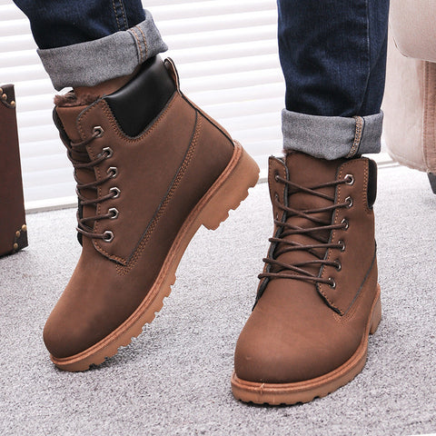 Men Leather Snow Boots, Men Boots, Stylenol- Stylenol