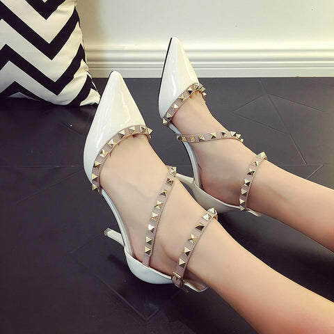 Woman High Heels Rivets Pointed Toe Pumps, Pump Shoes - Stylenol