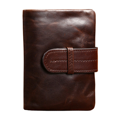 Men Genuine Leather Short Vintage Wallet, Wallet, Stylenol- Stylenol