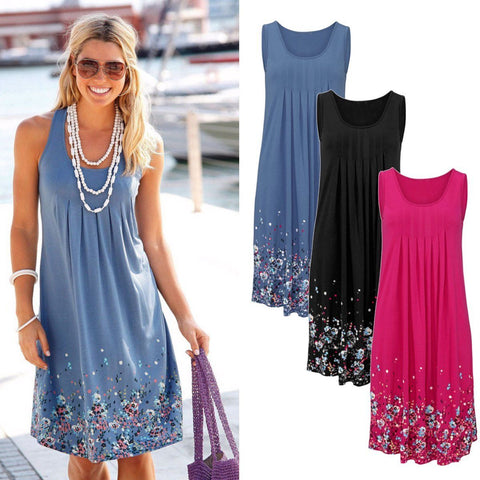 New Flower O-Neck Empire Casual Soft Dress, Women Dress, Stylenol- Stylenol