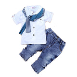 3pc T-Shirt Scarf Jeans Boys Clothing Set, Sets, Stylenol- Stylenol