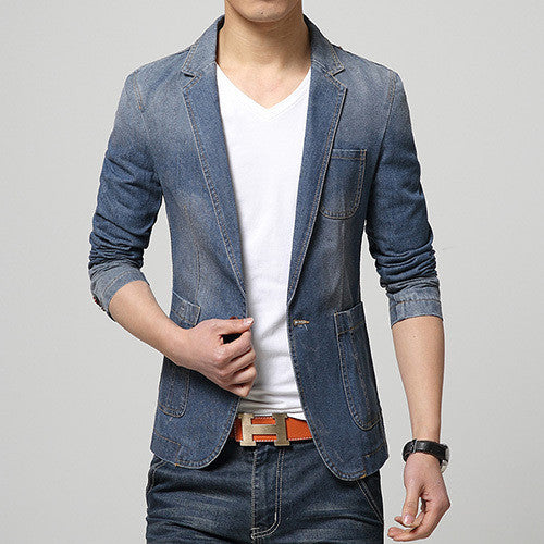 New Trend Denim Slim Fit Casual Blazer, Men Blazers - Stylenol