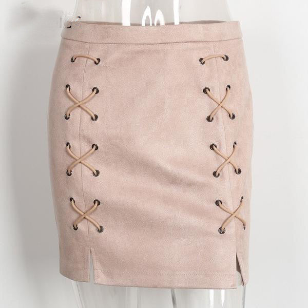 High Waist Leather Cross Pencil Skirt, Skirts, Stylenol- Stylenol