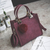Women Casual Large Shoulder Fur Ball Handbag, Handbags - Stylenol